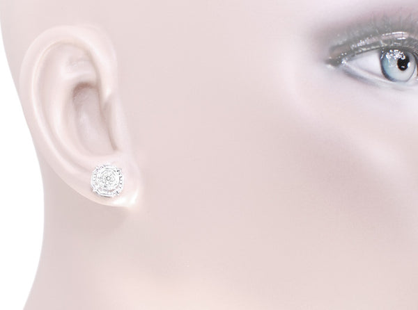 Art Deco Diamond Stud Earrings in 18 Karat White Gold - Item: E153 - Image: 2