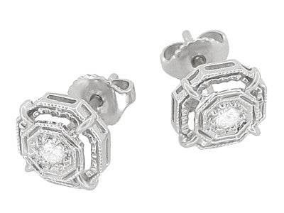 Art Deco Diamond Stud Earrings in 18 Karat White Gold - Item: E153 - Image: 1