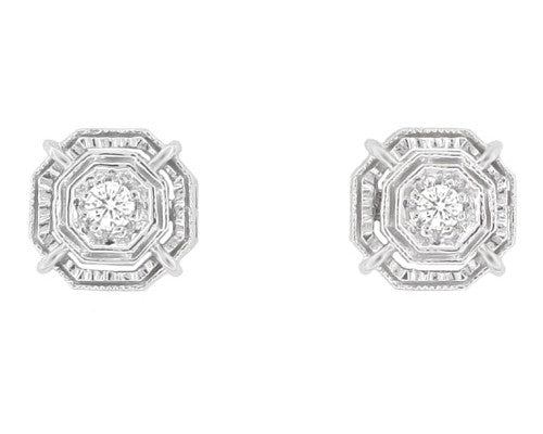 f platinum antique deco stud cluster diamond art pin g earrings flower
