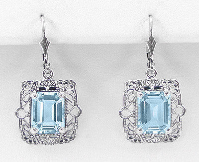 Art Deco Filigree Blue Topaz Drop Earrings in Sterling Silver - Item: E154 - Image: 1
