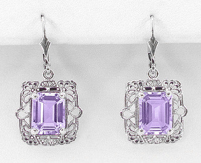 Art Deco Filigree Lavender Amethyst Drop Earrings in Sterling Silver - Item: E154AM - Image: 1