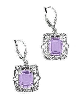 Art Deco Filigree Amethyst Drop Earrings in Sterling Silver