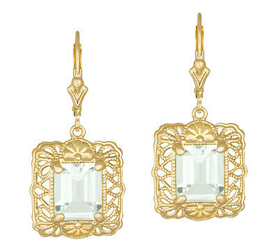 Art Deco Vintage Filigree Prasiolite Green Amethyst Drop Earrings in Sterling Silver with Yellow Gold Vermeil