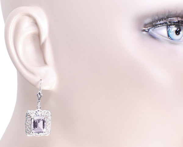 Art Deco Filigree Rose de France Amethyst Drop Earrings in Sterling Silver - Item: E154RF - Image: 2