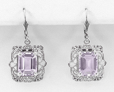 Art Deco Filigree Rose de France Amethyst Drop Earrings in Sterling Silver - Item: E154RF - Image: 1