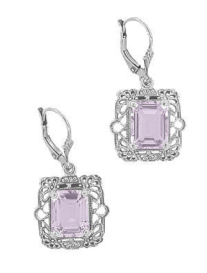 Art Deco Filigree Rose de France Amethyst Drop Earrings in Sterling Silver