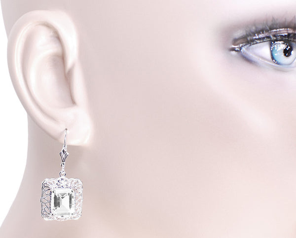 Art Deco Filigree White Topaz Drop Earrings in Sterling Silver - Item: E154WT - Image: 2