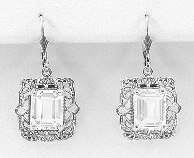 Art Deco Filigree White Topaz Drop Earrings in Sterling Silver - Item: E154WT - Image: 1
