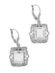 Art Deco Filigree White Topaz Drop Earrings in Sterling Silver