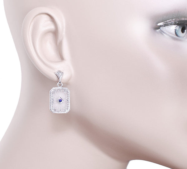 Art Deco Filigree Blue Sapphire and Diamond Crystal Earrings in Sterling Silver - Item: E155 - Image: 2