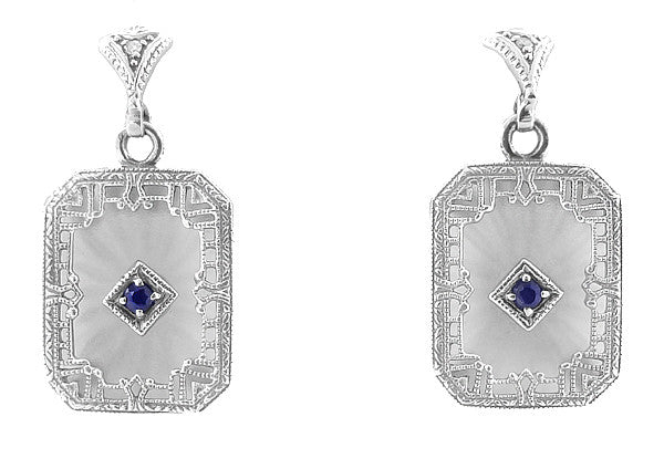 Art Deco Filigree Blue Sapphire and Diamond Crystal Earrings in Sterling Silver - Item: E155 - Image: 1