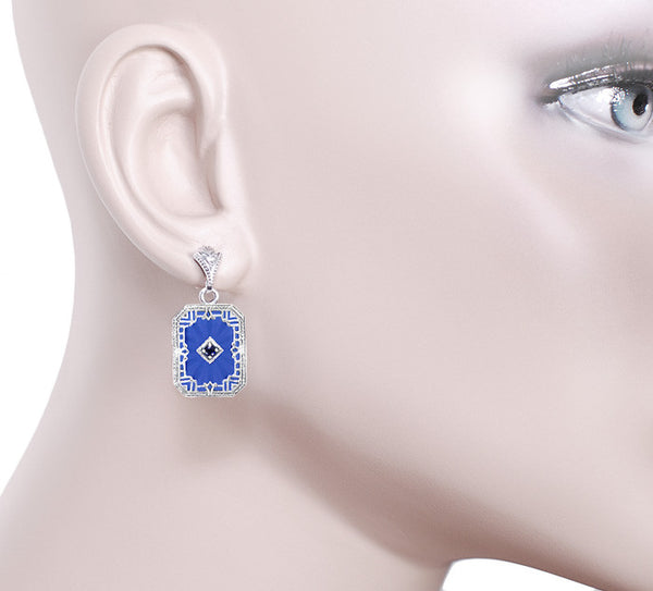 Art Deco Filigree Royal Blue Sun Ray Crystal and Sapphire Earrings with Diamond in Sterling Silver - Item: E155DB - Image: 2
