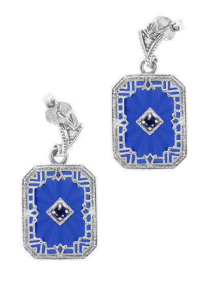 Art Deco Filigree Royal Blue Sun Ray Crystal and Sapphire Earrings with Diamond in Sterling Silver - Item: E155DB - Image: 1
