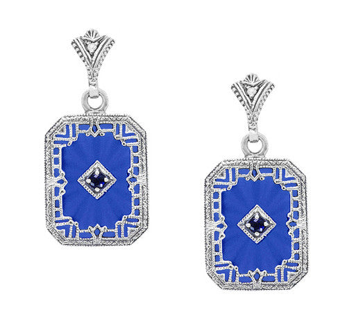 Art Deco Filigree Royal Blue Sun Ray Crystal and Sapphire Earrings with Diamond in Sterling Silver