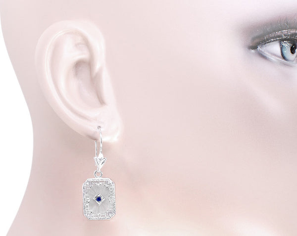 Art Deco Filigree Sapphire, Diamond and Sun Ray Crystal Dangling Earrings in Sterling Silver - Item: E155np - Image: 2