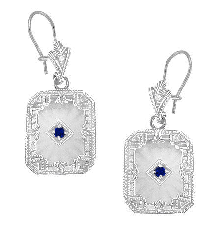 Art Deco Filigree Sapphire, Diamond and Sun Ray Crystal Dangling Earrings in Sterling Silver - Item: E155np - Image: 1