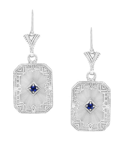 Art Deco Filigree Sapphire, Diamond and Sun Ray Crystal Dangling Earrings in Sterling Silver