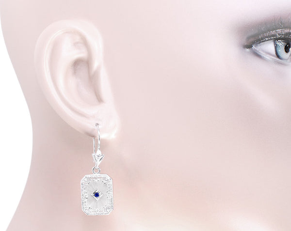 Art Deco Filigree Sapphire and Diamond Set Crystal Earrings in 14 Karat White Gold - Item: E155WG - Image: 2