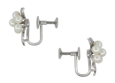 Vintage Mikimoto Pearl Cluster Earrings in Sterling Silver - Item: E160 - Image: 1