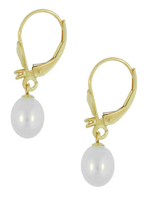 Art Deco Fleur De Lis Diamond and Pearl Drop Earrings in 14 Karat Gold - Item: E161 - Image: 1