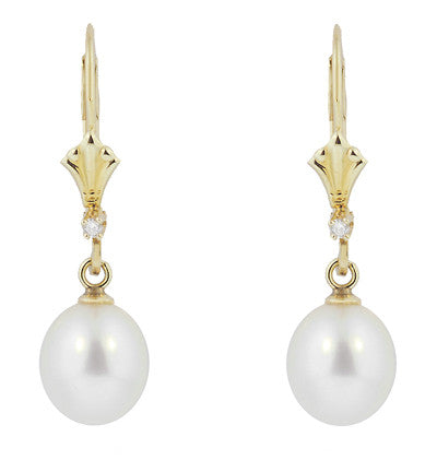 Art Deco Fleur De Lis Diamond and Pearl Drop Earrings in 14 Karat Gold