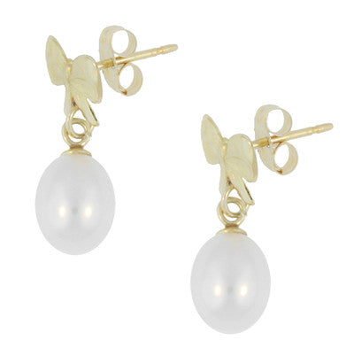 Mid-Century Bows and Pearls Drop Earrings in 14 Karat Yellow Gold - Item: E162 - Image: 1