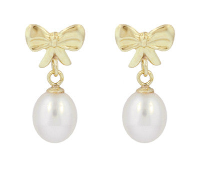 Mid-Century Bows and Pearls Drop Earrings in 14 Karat Yellow Gold