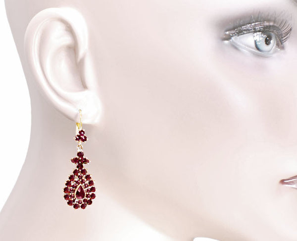 Victorian Bohemian Garnet Teardrop Earrings in 14 Karat Yellow Gold and Sterling Silver Vermeil - Item: E164S - Image: 2