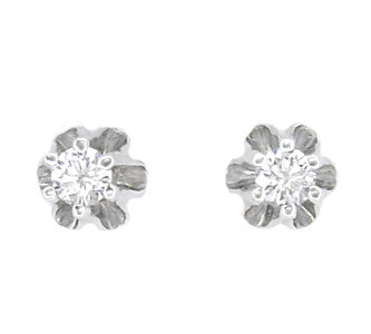 Vintage 1/3 t.w. Buttercup Diamond  Stud Earrings in 14 Karat White Gold