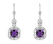 Art Deco Filigree Cushion Cut Amethyst Drop Earrings in Sterling Silver