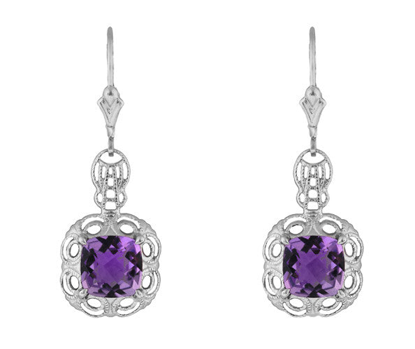 Art Deco Filigree Cushion Cut Amethyst Drop Earrings In