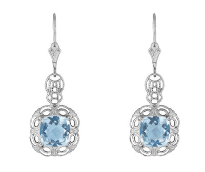 Art Deco Filigree Cushion Cut Sky Blue Topaz Drop Earrings in Sterling Silver