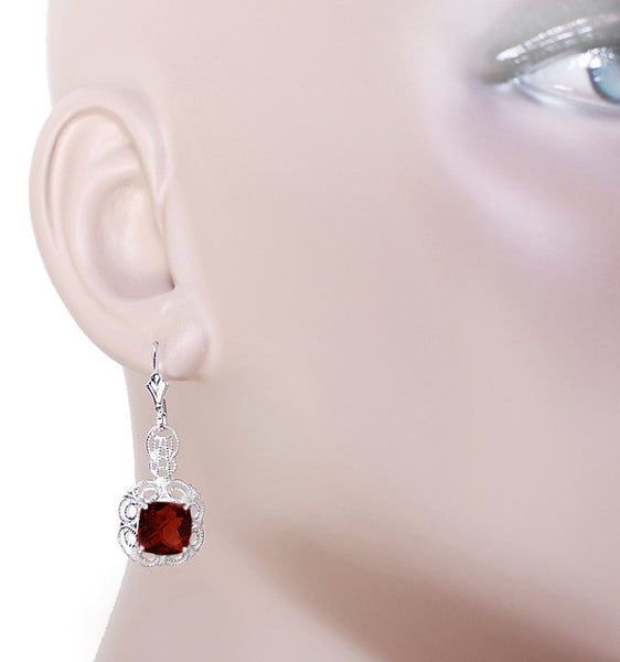 Art Deco Filigree Cushion Cut Almandine Garnet Drop Earrings in Sterling Silver - Item: E166G - Image: 2
