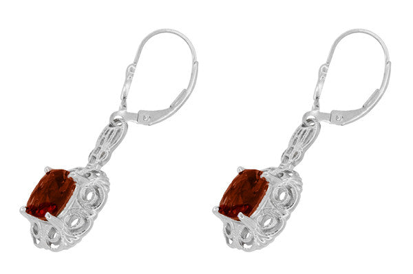 Art Deco Filigree Cushion Cut Almandine Garnet Drop Earrings in Sterling Silver - Item: E166G - Image: 1
