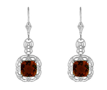 Art Deco Filigree Cushion Cut Almandine Garnet Drop Earrings in Sterling Silver