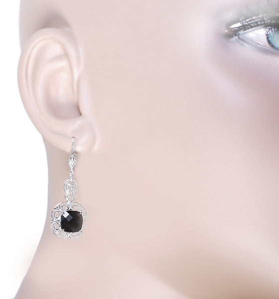 Filigree Cushion Cut Black Onyx Art Deco Drop Earrings in Sterling Silver - Item: E166on - Image: 2