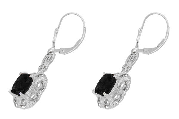 Filigree Cushion Cut Black Onyx Art Deco Drop Earrings in Sterling Silver - Item: E166on - Image: 1