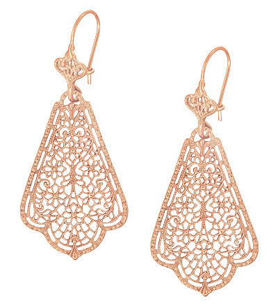 Edwardian Scalloped Leaf Dangling Sterling Silver Filigree Earrings with Rose Gold Vermeil - Item: E169R - Image: 2