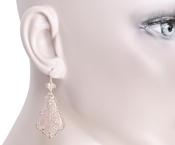 Edwardian Scalloped Leaf Dangling Sterling Silver Filigree Earrings with Rose Gold Vermeil - Item: E169R - Image: 3