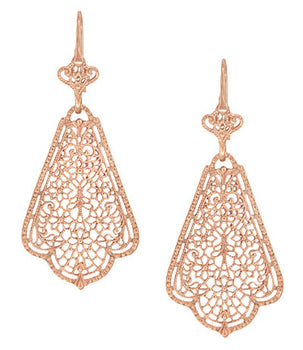 Edwardian Scalloped Leaf Dangling Sterling Silver Filigree Earrings with Rose Gold Vermeil