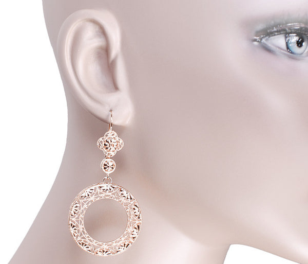Art Deco Circle of Love Sterling Silver Drop Dangle Filigree Earrings with Rose Gold Vermeil - Item: E170R - Image: 2