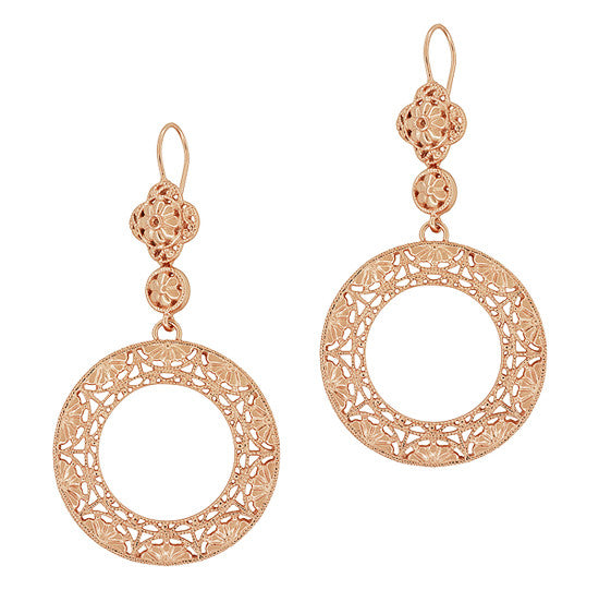 Art Deco Circle of Love Sterling Silver Drop Dangle Filigree Earrings with Rose Gold Vermeil - Item: E170R - Image: 1