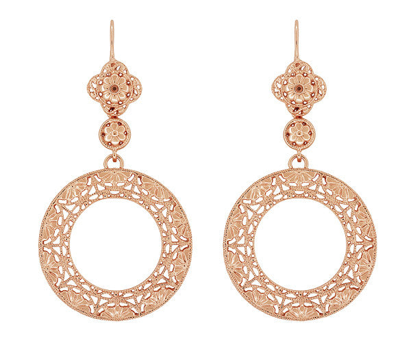 Art Deco Circle of Love Sterling Silver Drop Dangle Filigree Earrings with Rose Gold Vermeil