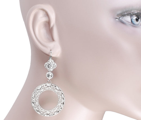 Circle of Love Art Deco Sterling Silver Drop Dangle Filigree Earrings - Item: E170W - Image: 2