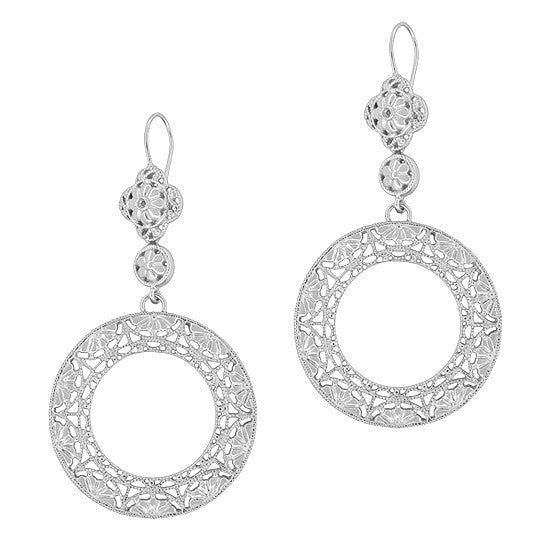 Circle of Love Art Deco Sterling Silver Drop Dangle Filigree Earrings - Item: E170W - Image: 1