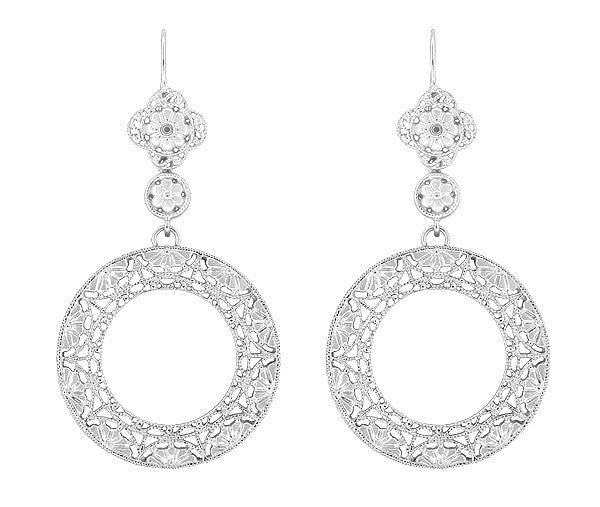 Circle of Love Art Deco Sterling Silver Drop Dangle Filigree Earrings