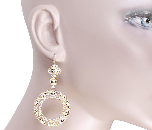 Art Deco Circle of Love Sterling Silver Drop Dangle Filigree Earrings with Yellow Gold Vermeil - Item: E170Y - Image: 2