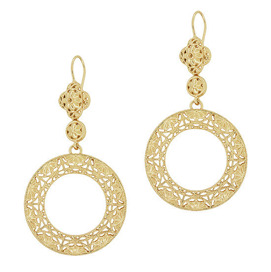 Art Deco Circle of Love Sterling Silver Drop Dangle Filigree Earrings with Yellow Gold Vermeil - Item: E170Y - Image: 1