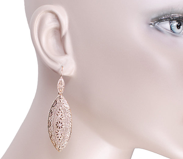 Art Deco Dangling Leaf Sterling Silver Filigree Diamond Earrings with Rose Gold Vermeil - Item: E171RD - Image: 2