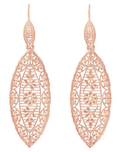 Art Deco Dangling Leaf Sterling Silver Filigree Diamond Earrings with Rose Gold Vermeil